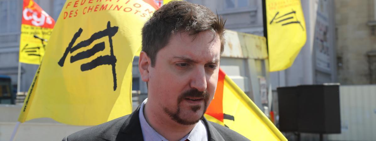 Le secrétaire général de la CGT-Cheminots, Laurent Brun, le 3 mai 2018 à Paris.