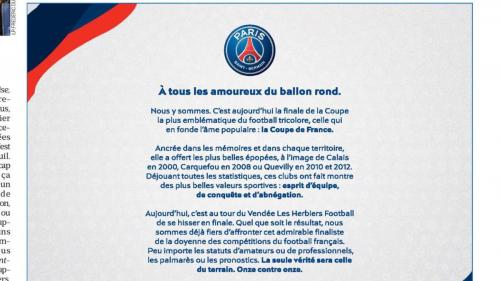 Coupe de France : le PSG achète des encarts publicitaires dans la presse pour féliciter Les Herbiers