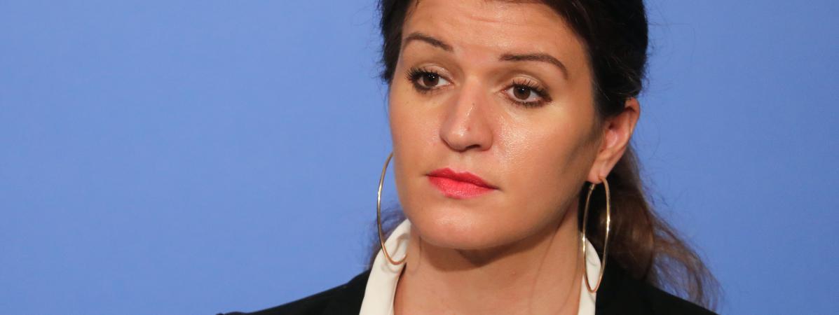 La secrétaire d\'Etat à l\'Egalité entre les femmes et les hommes Marlène Schiappa, lors d\'une conférence de presse à Paris, le 21 mars 2018.