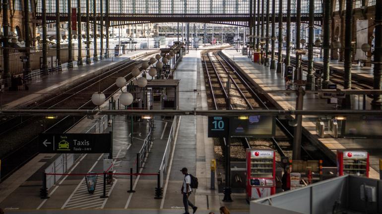 Les quais vides de la gare du Nord, le 24 avril 2018, lors d\'une journée de grève à la SNCF.