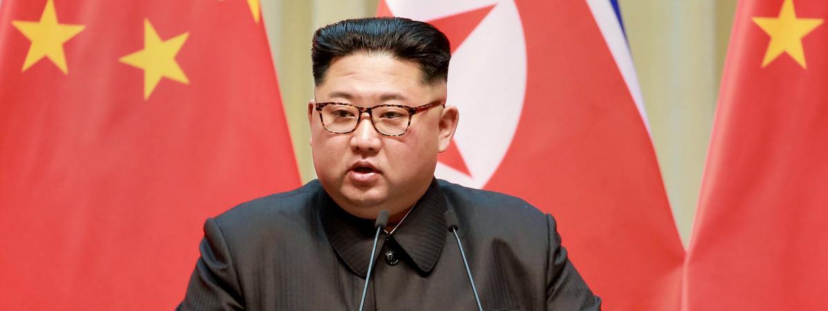Photo de Kim Jong Un prise lors de sa visite à Dailan en Chine,le 7 mai 2018.