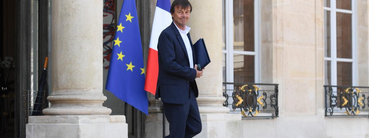 Nicolas Hulot, le 9 mai 2018, quitte le palais de l\'Elysée à Paris.