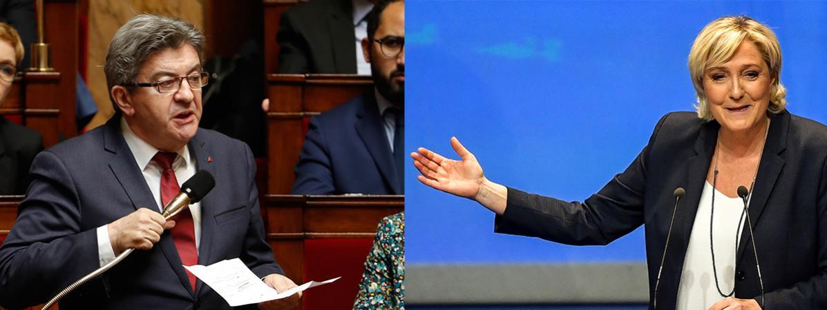 Jean-Luc Mélenchon et Marine Le Pen sont les meilleurs opposants à Emmanuel Macron selon un sondage, publié jeudi 17 mai 2018.