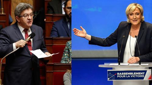 Jean-Luc Mélenchon et Marine Le Pen, meilleurs opposants à Emmanuel Macron aux yeux des Français, d'après un sondage
