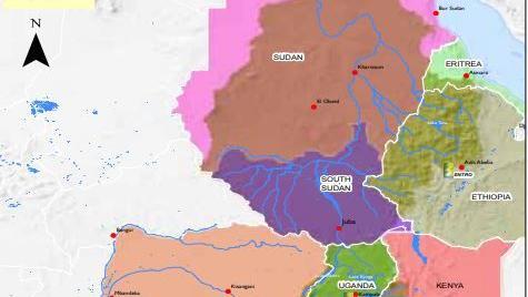 Le bassin du Nil. Nil Bleu et Nil Blanc. La carte des pays qui bordent le plus long fleuve du monde.