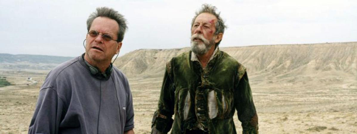 """Le cinéaste Terry Gilliam et l\'acteur Jean Rochefort lors du premier tournage de \""""L\'homme qui tua Don Quichotte\"""", en 2000."""