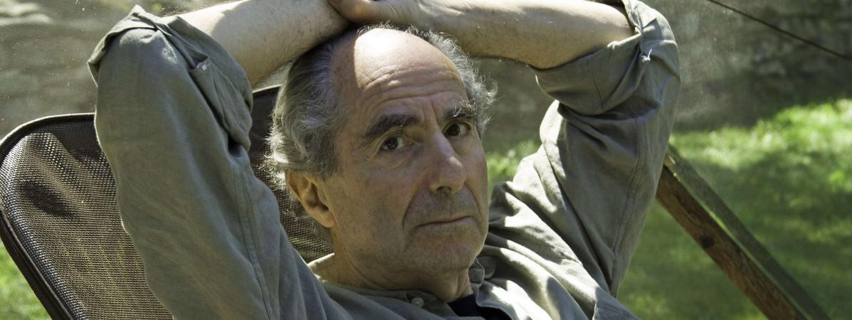L\'auteur américain Philip Roth à son domicile de Warren (Connecticut), le 5 septembre 2005.