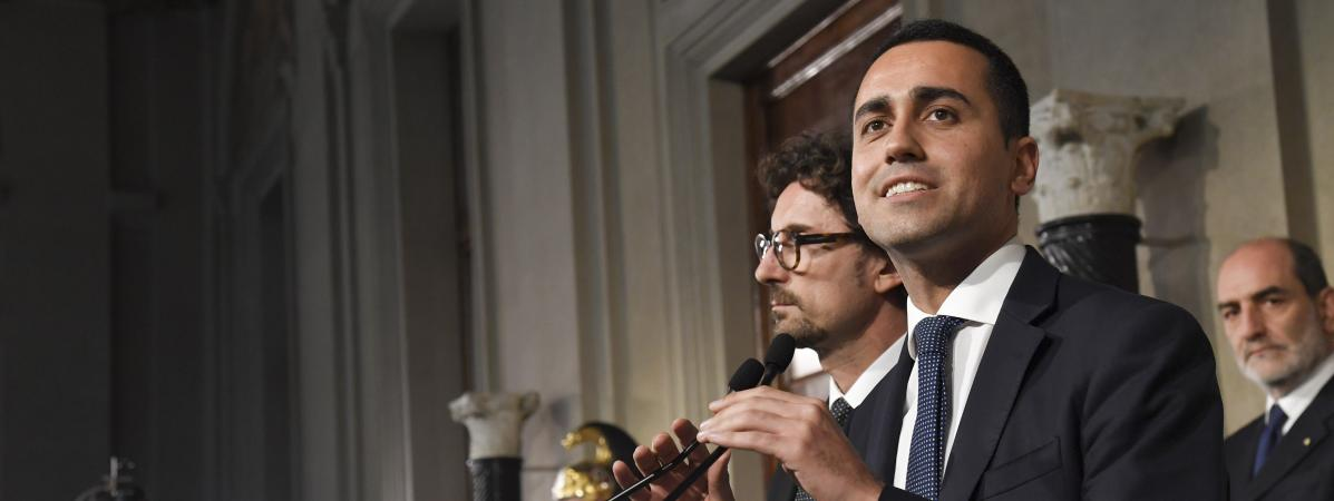 Luigi Di Maio, leader du M5S, lors d\'une conférence de presse au Quirinal de Rome, lundi 14 mai 2018.