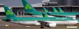 Des avions de la compagnie Aer Lingus à l\'aéroport de Dublin (Irlande), le 27 janvier 2015.