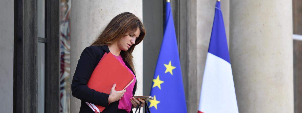 Marlène Schiappa quitte l\'Elysée, à Paris, le 16 mai 2018.