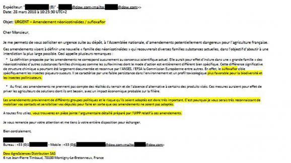 Mail de la firme Dow Chemical pour défendre le sulfoxaflor, un pesticide tueur d'abeilles.