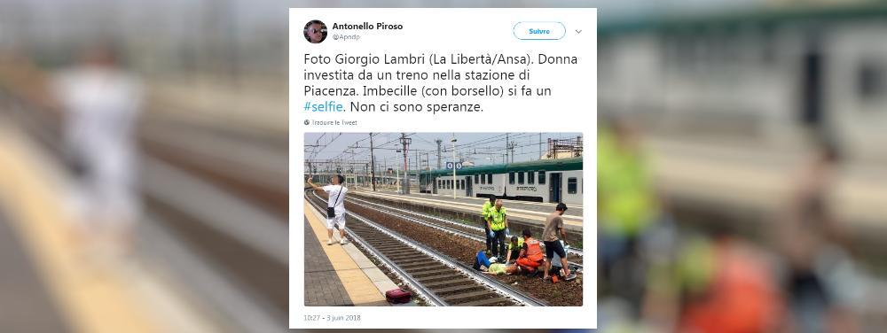 Un homme prend un selfie devant une femme heurtée par un train et choque l'Italie