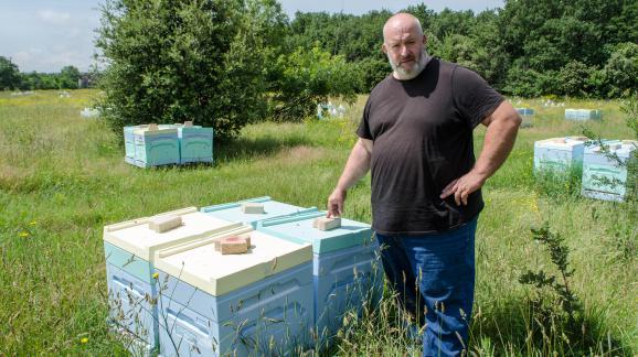 Pascal Thiry, apiculteur à Montélimar, dans l\'un de ses ruchers, le 5 juin 2018.