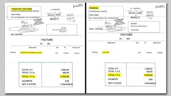 Les deux factures de 3000 euros adressées à En Marche pour la location des théâtres de Jean-Marc Dumontet