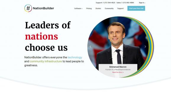 Capture d\'écran de la page d\'accueil du site NationBuilder.com