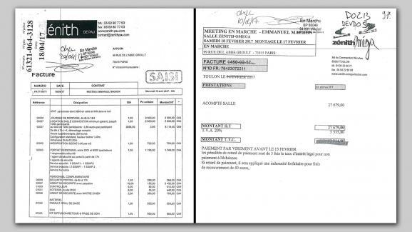 A gauche, la facture du zénith de Pau, très détaillée, fait 3 pages, à droite celle de Toulon ne comporte qu'une seule ligne