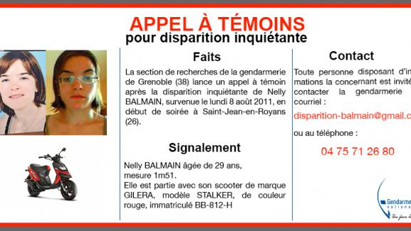 L\'appel à témoins concernant la disparition inquiétante de Nelly Balmain, le 8 août 2011