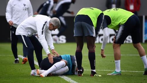 VIDÉO. Coupe du monde 2018 : un tacle d'Adil Rami met Kylian Mbappé sur le flanc à l'entraînement