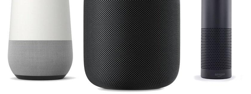Google Home, HomePod d\'Apple, Amazon Echo.