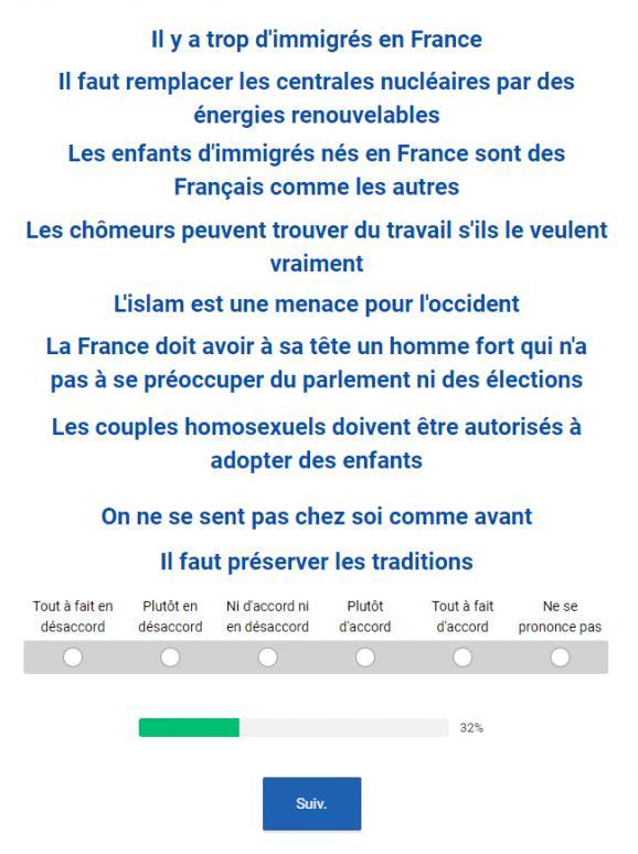 Exemple de questions dans le questionnaire de Terra Nova pour La République en marche.