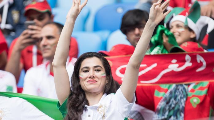 Interdites de stade en Iran, les femmes profitent de la Coupe du monde en Russie