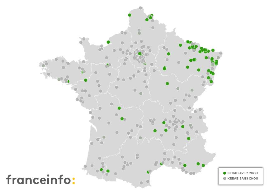 La carte des kebabs proposant du chou en France.