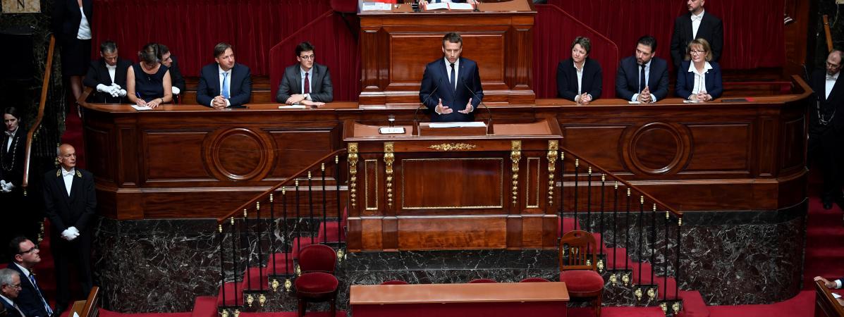 Emmanuel Macron s\'exprime face au Congrès de Versailles, le 3 juillet 2017.