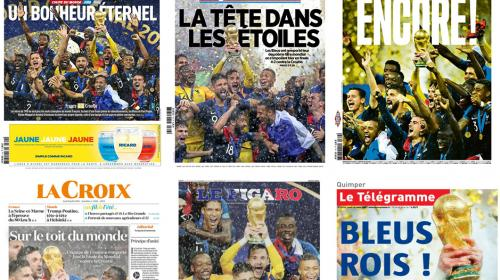 """EN IMAGES. Coupe du monde 2018 : """"La tête dans les étoiles"""", """"sur le toit du monde""""... La presse salue la victoire """"grandiose"""" des Bleus"""