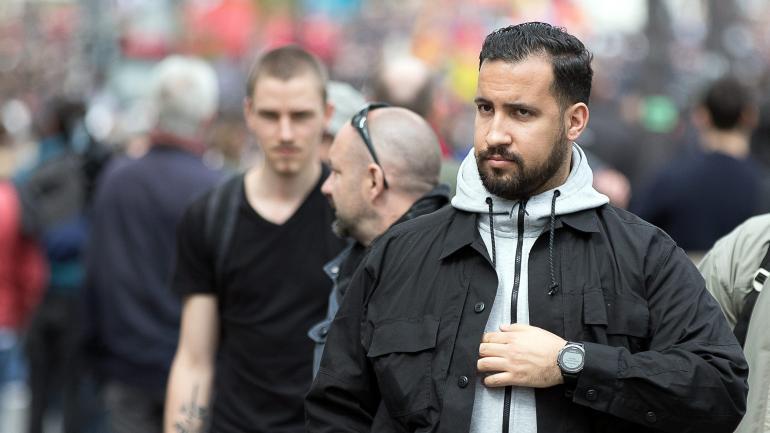 Alexandre Benalla lors d\'une manifestation à Paris, le 1er mai 2018.