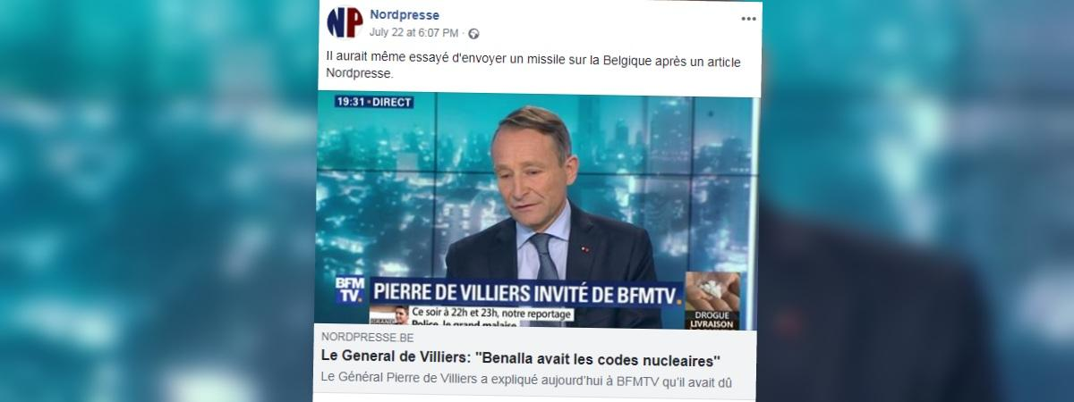 Capture d\'écran du site satirique belge Nordpresse.