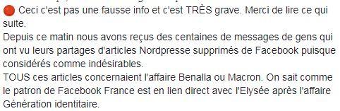 Capture d\'écran de la page Facebook du site satirique belge Nordpresse.
