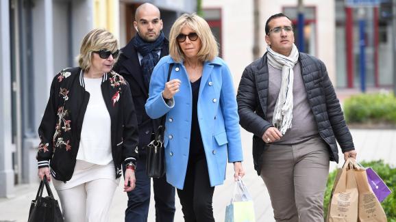 Michèle Marchand accompagne Brigitte Macron au Touquet,le 22 avril 2017.