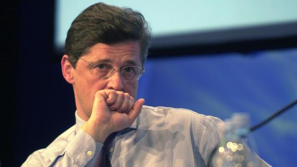Nicolas Forissier, alors secrétaire d\'Etat à l\'Agriculture, le 1er avril 2004 lors du congrès de la FNSEA au Grand-Bornand (Haute-Savoie).