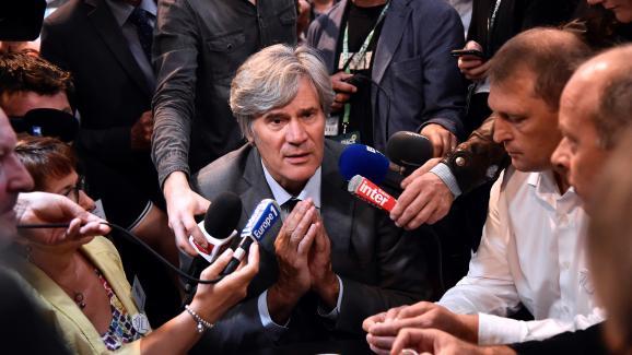 Stéphane Le Foll, alors ministre de l\'Agriculture, lors du congrès de la FNSEA organisé le 15 septembre 2016 à Saint-Jacques-de-la-Lande (Ille-et-Vilaine).