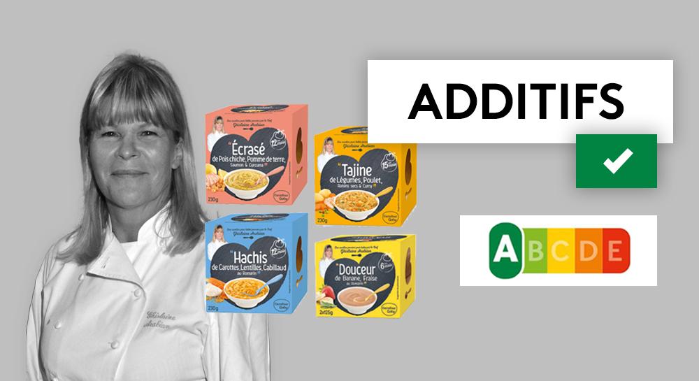 Les petits pots pour bébé de Ghislaine Arabian vendus sous la marque Carrefour Baby ne contiennent aucun additif controversé etsont classés A par le Nutri-Score.