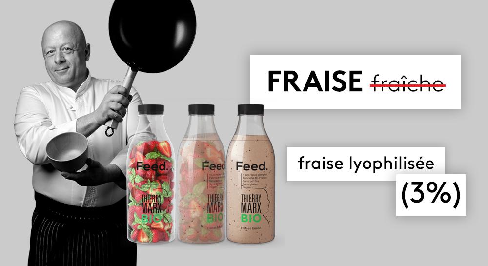 Des visuels présents sur le site internet de Feed montrent des fraises fraîches : en réalité, le produit contient de la fraise sous forme lyophilisée.
