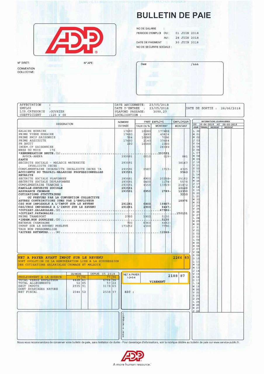 Un exemple de bulletin de paie édité par la société ADP.