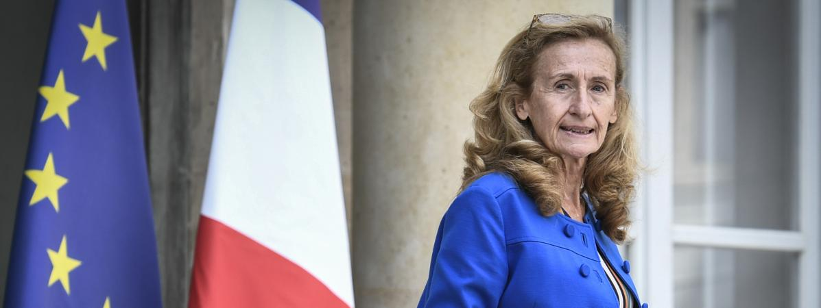 La garde des Sceaux, Nicole Belloubet, à la sortie du Conseil des ministres, le 31 août 2018, à l\'Elysée.