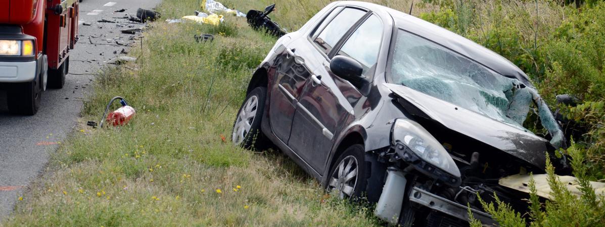 Un accident mortel de la route à Moux, dans l\'Aude, le 2 septembre 2018.