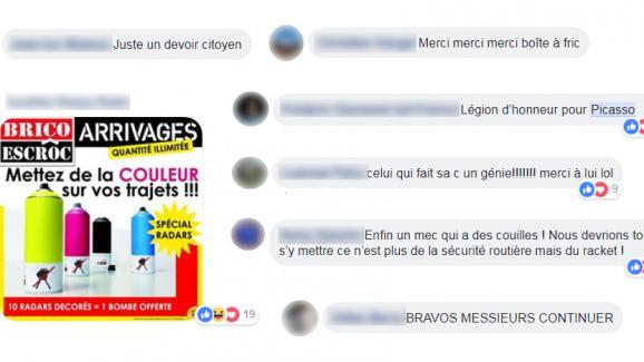 Des commentaires sur Facebook.
