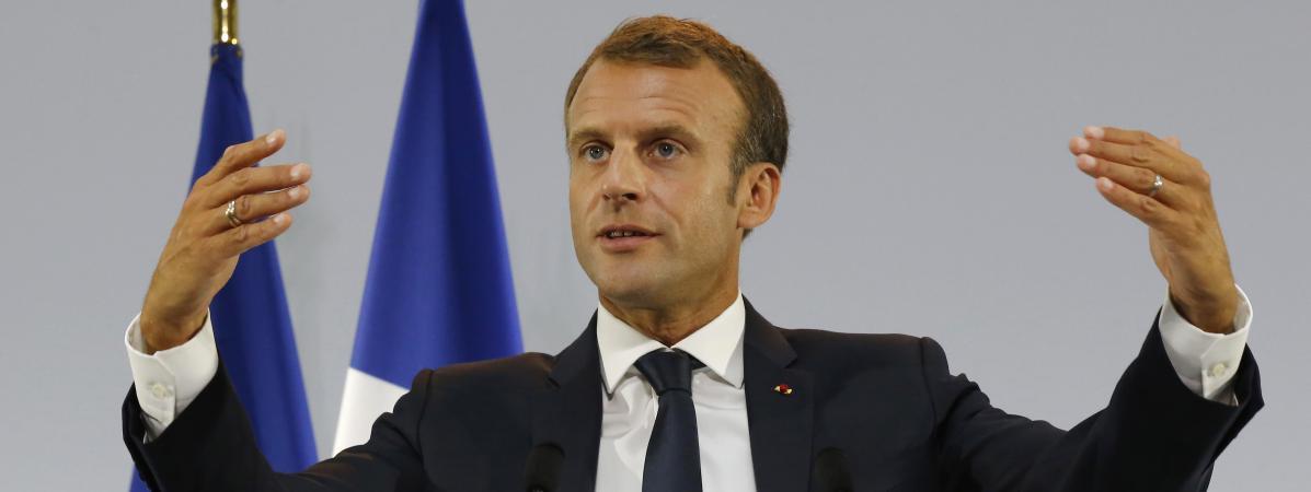 Emmanuel Macron, le 13 septembre 2018, lors de la présentation du plan pauvreté, au musée de l'Homme à Paris.