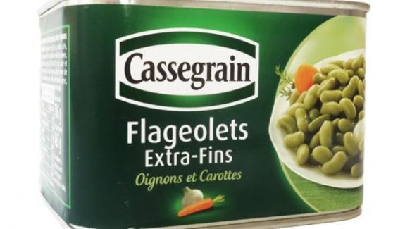 Les flageolets extra-fins oignons et carottes de la marque Cassegrain.