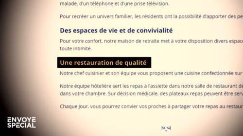 """VIDEO. """"Envoyé Spécial"""" : dans certains Ehpad, on paie 3 000 euros par mois mais on mange pour 4 euros par jour"""