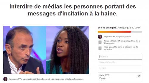 """Hapsatou Sy lance une pétition pour """"interdire de médias"""" Eric Zemmour"""