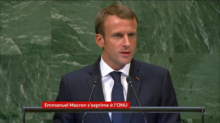 Emmanuel Macron à la tribune de l\'assemblée générale des Nations unies, à New York (Etats-Unis), le 25 septembre 2018.