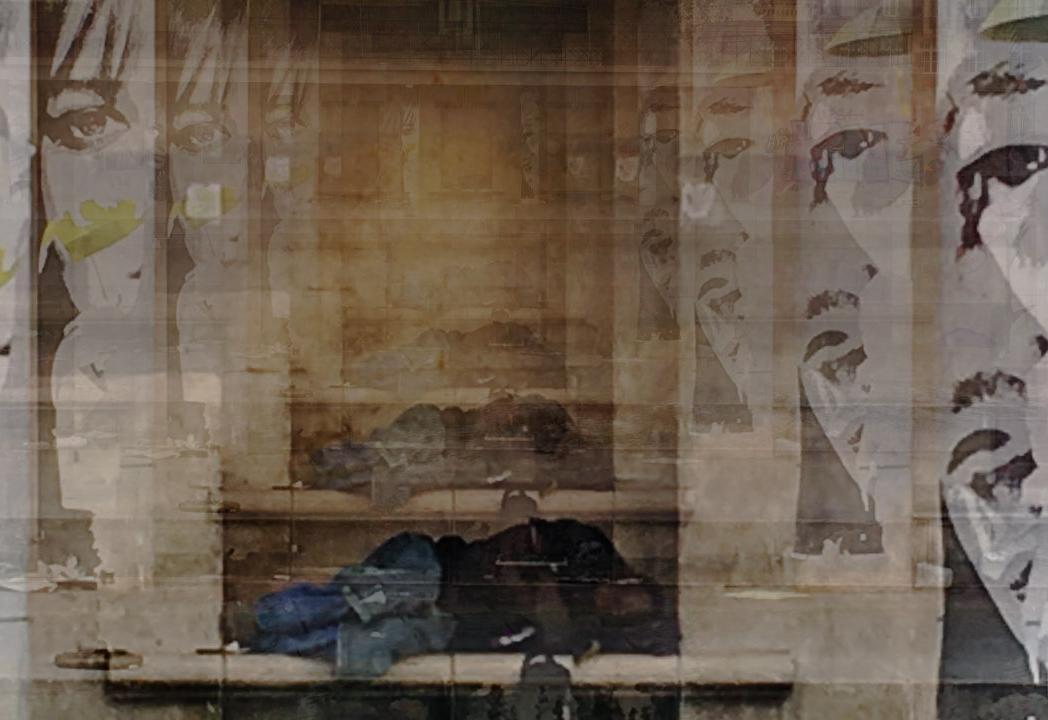 Un toxicomane endormi dans le 19e arrondissement de Paris.