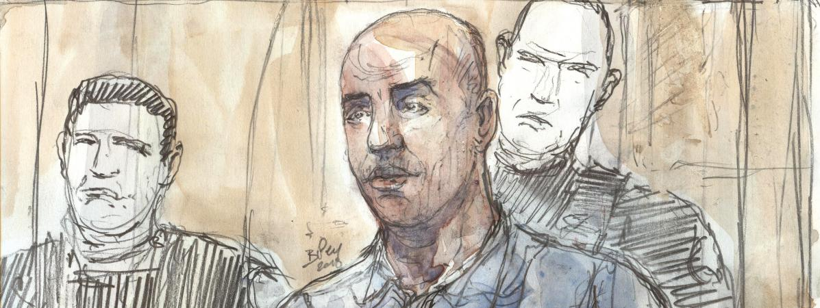 Un portrait dessiné de Redoine Faïd, durant son procès devant la cour d\'assises de Paris, le 27 février 2018.
