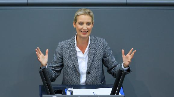 La députée AfD allemande Alice Weidel, lors d\'une session parlementaire à Berlin, le 12 septembre 2018.