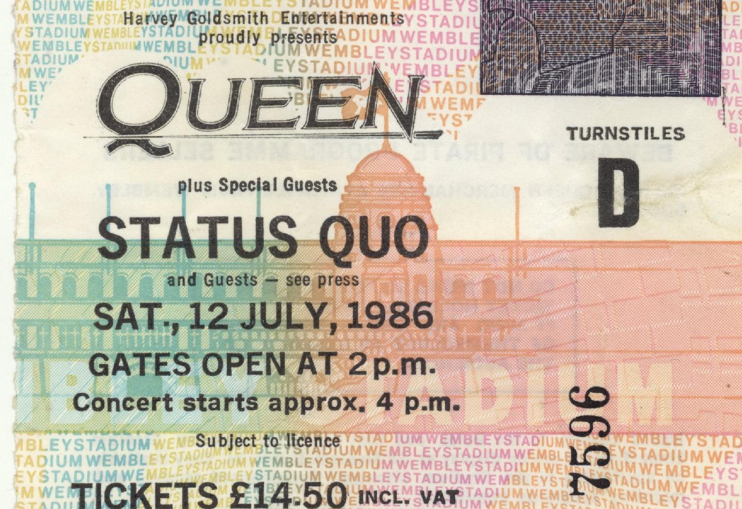 Le billet du concert de Queen à Wembley (Londres), le 12 juillet 1986.
