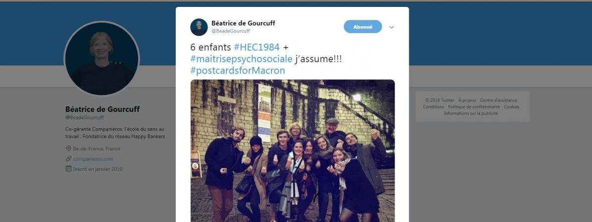 Capture d'écran d'un message posté sur Twitter avec le hashtag #PostcardsForMacron, le 17 octobre 2018.